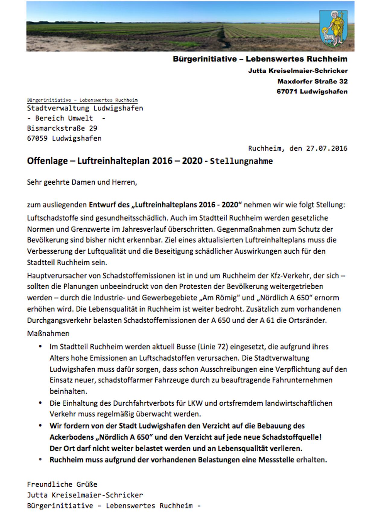 Offenlage Luftreinhalteplan 2016- 2020